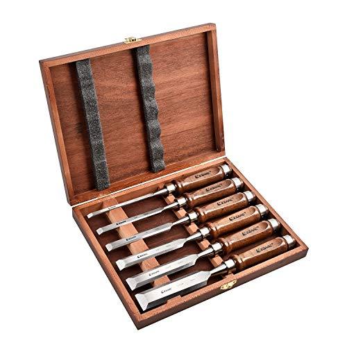 EZARC 6pc Stechbeitel Set für Holz, CrV-Stahl + Buche Griffe + Holzkiste (6mm, 10mm, 12mm, 16mm, 20mm, 25mm)