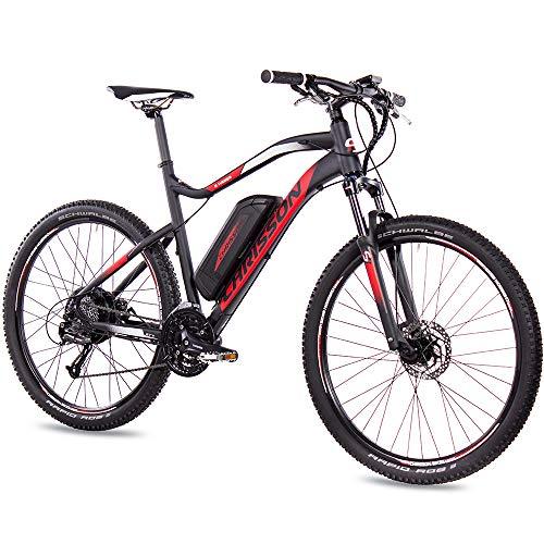CHRISSON 27,5 Zoll E-Bike Mountainbike - E-Weger schwarz rot 53 cm - Elektro Fahrrad für Herren und Damen -...