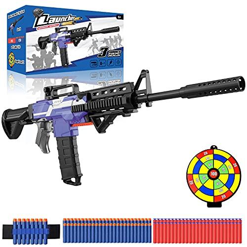Elektrische Spielzeug Pistole mit 12 Clip Magazin, Automatische M416 Blaster groß mit 100 Nerf Darts, 3 Modi...