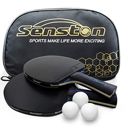 Senston Tischtennis Schläger Set, Profi 2 Tischtennisschläger und 3 Tischtennis-Bälle, Ideal für 2 Spieler