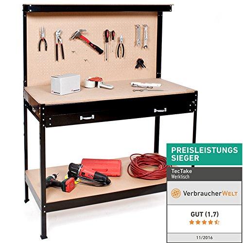 TecTake Werkbank | Werkzeugbank mit Schublade | Lochwand für hängende Werkzeuge - Verschiedene Größen (120...
