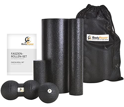 WOMA BodyPower Faszienrolle Set - 3 x Faszienrolle Klein und Groß, 1x Faszienball, 1x Duo Ball - Massage Set...