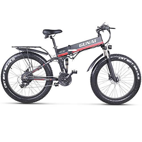 GUNAI Elektrisches Fahrrad 48V 1000W Männer, das Ebike 21 Geschwindigkeits-Mountain & Road Fahrrad mit 48V...