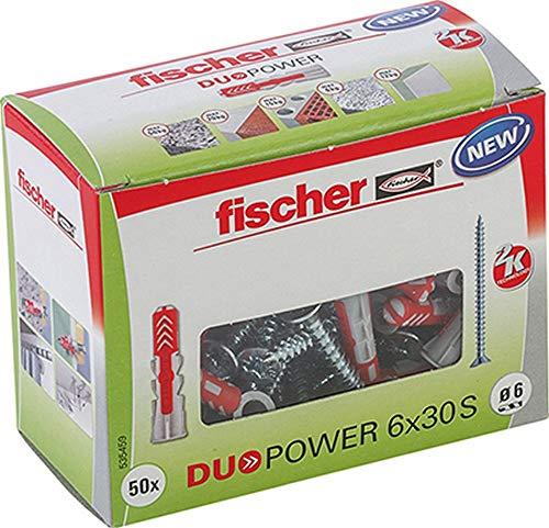 fischer DUOPOWER 6 x 30 S, Universaldübel mit Sicherheitsschraube, 2-Komponenten-Dübel, Kunststoffdübel zur...