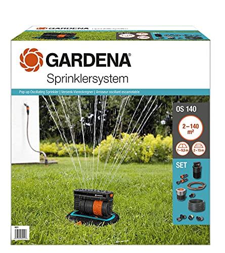 Gardena Sprinklersystem Komplett-Set mit Versenk-Viereckregner OS 140: Bewässerungssystem für quadratische...