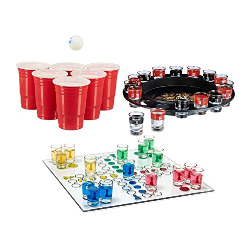 Relaxdays 3 teiliges Trinkspiel Set XXL für Erwachsene, Drinking Ludo, Trink-Roulette, Beer Pong Becher rot,...