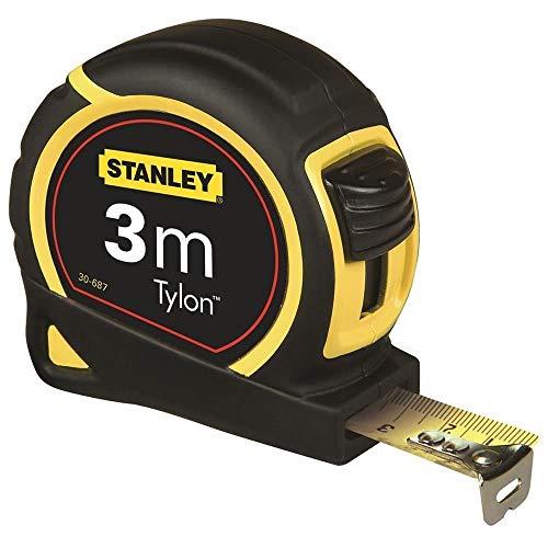 Stanley 1-30-687 Bandmass Tylon, 3 m, Tylon-Polymer Schutzschicht, verschiebbarer Endhaken, Kunststoffgehäuse