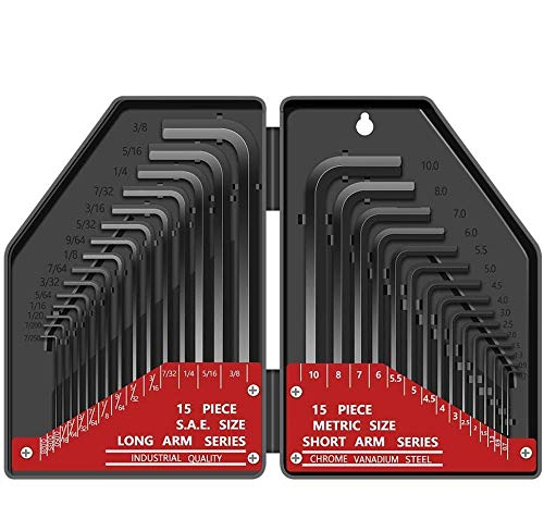 30 tlg Innensechskant Satz HX E·Durable Innensechskantschlüssel Kurzarm Metrisch (0,7 mm-10 mm) Langarm Zoll...