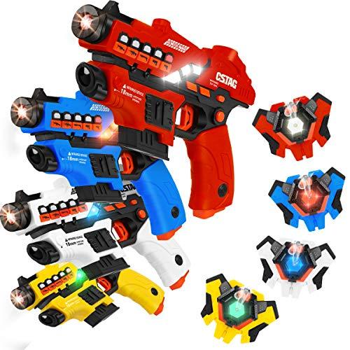 VATOS Laser Tag Spielzeug Pistole Sprühfunktion und LED-Bildschirm, 4er-Set Lasertag mit Westen für Kinder...