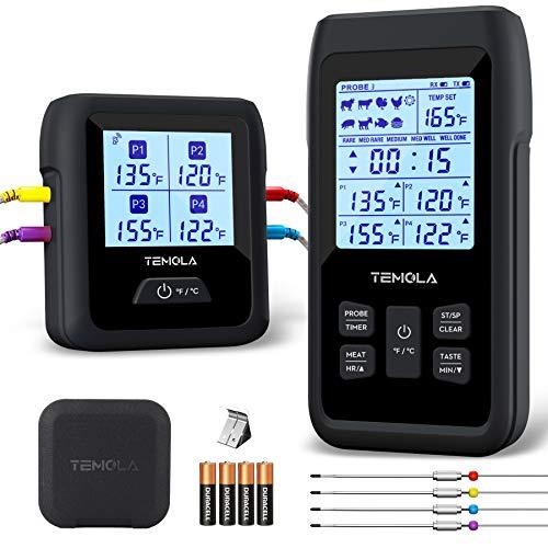 TEMOLA Grillthermometer Funk Fleischthermometer, TM40 Bratenthermometer mit 4 Temperaturfühlern LCD...