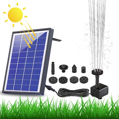AISITIN 6.5W Solar Springbrunnen Eingebaute1500 mAh Batterie Upgraded Solar Teichpumpe Wasserpumpe Solar...