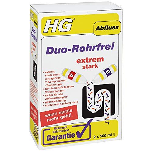HG Duo-Rohrfrei, 2x 500 ml – Der Abflussreiniger für hartnäckige Verstopfungen im Abfluss Ihrer Küche,...