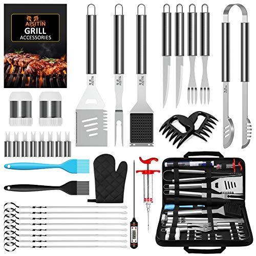 AISITIN 35er BBQ Grillbesteck Tool Set Grillset mit Grillmatte Hochwertiger Edelstahl für Garten und Camping...