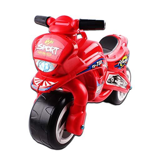 deAO Rutscher Kindermotorrad – Kinderrad ohne Pedale in coolem roten Design