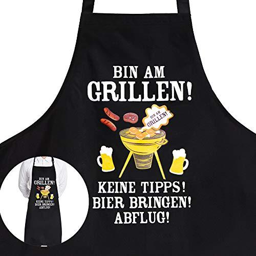 MEJOSER Grillschürze-Bin am Grillen! Keine Tipps! Bier bringen! Abflug- Grillschürze für Männer Lustig als...
