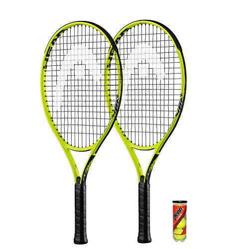 HEAD Extreme Junior 2 x Tennisschläger + 3 Balls and Protective Covers (Größe 19'-26' (26')
