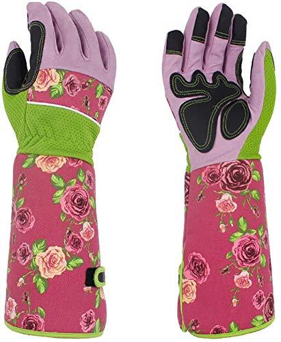 Lange Gartenhandschuhe für Frauen, hübscher dornensicher Damen-Gartenhandschuh mit 37 cm langen Ärmeln,...