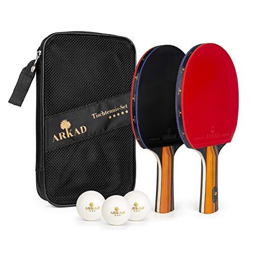 Arkad Tischtennis Set • 2 Tischtennisschläger + 3 Premium Bälle • Tischtennis Schläger Set mit Tasche...