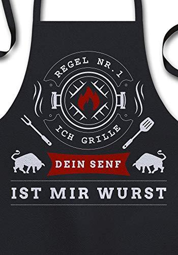 YORA Grillschrze fr Mnner - Papas Grill Papas Regeln (Sign) - Geschenk fr Mnner/Vatertagsgeschenk