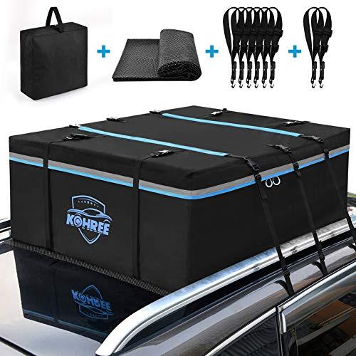 Kohree Auto Dachbox Faltbar 15 Kubikfuß 430L Wasserdicht Dachkoffer XXL Dachbox Taschen mit Rutschfester...