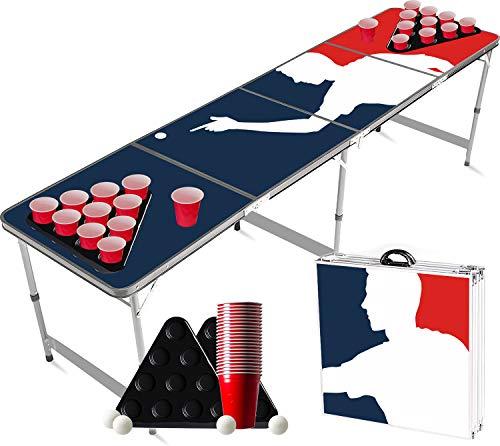 Offizieller Player Ping Pong Tisch Set | Full Pack | 1 Ping Pong Tisch + 2 Ping Pong Rack + 22 Rot Becher 53cl...