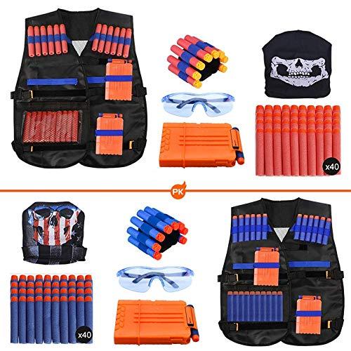 Expower Tactical Vest Kit, 2er Taktische Weste Jacke Set Nerf Vest Set Kompatibel mit Nerf Guns N-Strike Elite...