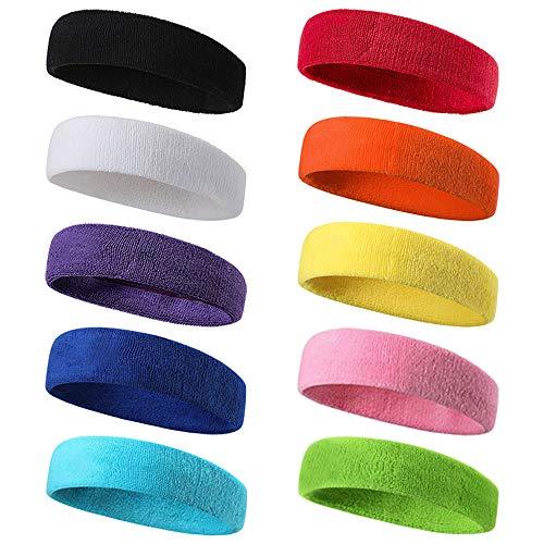 Genrics Stirnband Herren Damen,Stirnband Sport,Schweißband Stirn,10 Stück Elastisches Haarband aus Baumwolle...