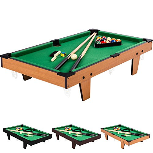Mini Pool Billardtisch Micro inkl. Zubehör (2 Queues, Kugeln, Dreieck, Kreide, Bürste), 3 Dekore, Maße:...