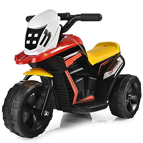 COSTWAY 6V Elektro Motorrad mit Musik und Hupe, Dreirad Kindermotorrad bis 2km/h, Elektromotorrad mit Vor- und...