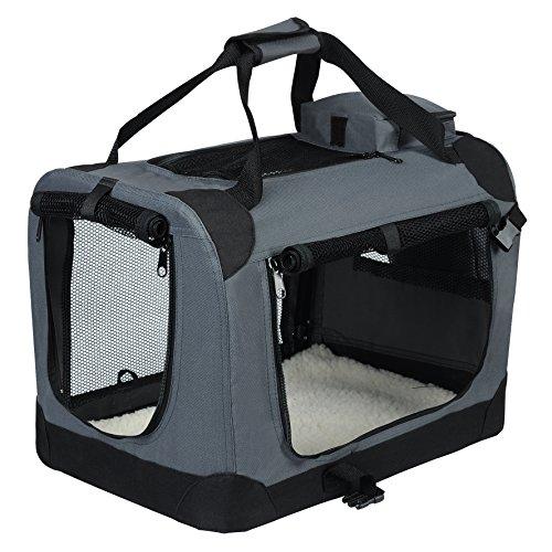 EUGAD Hundebox faltbar Hundetransportbox Auto für Französische Bulldogge Jack Russell Terrier Grau M...