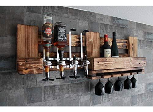 WANDBAR Regal mit 4 Getränkespender, inkl. 4 Dosierer Proportionierer,für Cocktail´s, Gin, Longdrinks im...