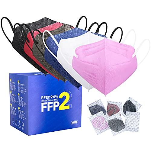 FFP2 Maske CE Zertifiziert - 6 Farbe 30 Stück Masken - Schwarz Rot Blau Rosa Weiß Grau Premium hygienische...