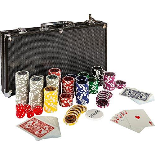 Ultimate Black Edition Pokerset, 300 hochwertige 12 Gramm METALLKERN Laserchips, 100% PLASTIKKARTEN, 2x...