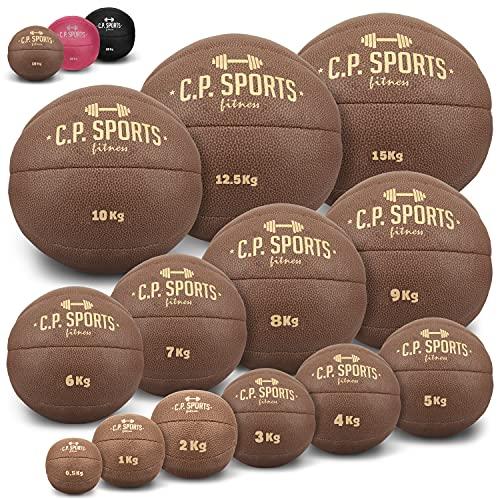 C.P. SPORTS Medizinball aus hochwertigem Kunstleder - Fitness Ball, Trainingsball, Gewichtsball, Slamball,...
