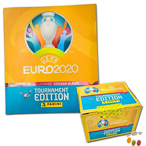 Panini E.URO EM 2020 Sticker Tournament Edition – 1x Stickeralbum + 1x Display mit 100 Tüten zusätzlich 1...