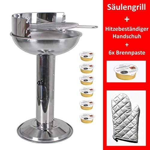 Grill-Holzkohle Säulengrill Edelstahl Standgrill groß B/H/T 32 x 74 x 53cm Grillfläche mit Aschebehälter...