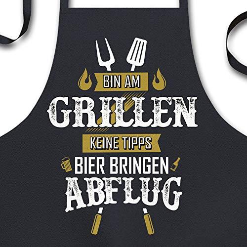 YORA Grillschürze für Männer lustig - Vatertagsgeschenk - Bin am Grillen - Kochschürze Inkl....