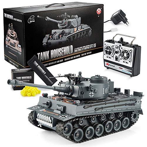 GOODS+GADGETS Ferngesteuerter RC German Tiger I 2.4GHz R/C Panzer 1:16 Modellbau mit Schuss-Funktion, Sound -...