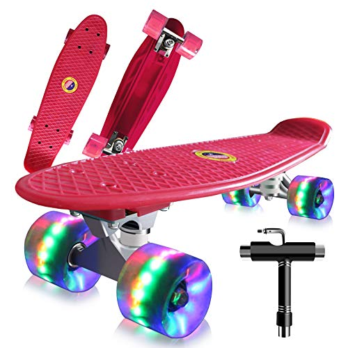 Saramond Skateboards Komplette 55cm Mini Cruiser Retro Skateboard für Kinder Teens Erwachsene Anfänger,...
