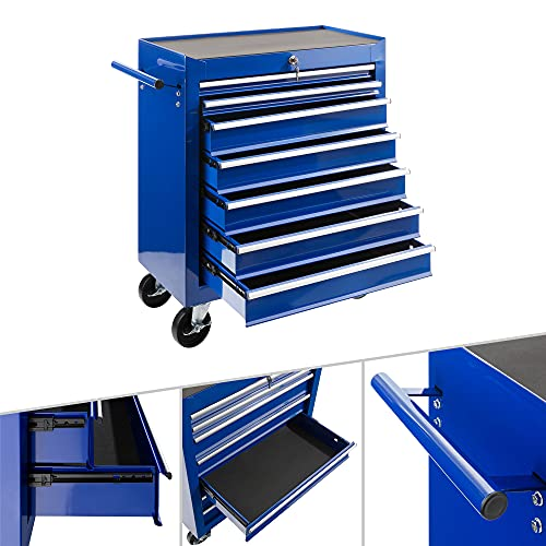 Arebos Werkstattwagen 7 Fächer | zentral abschließbar | inkl. Antirutschmatten | kugelgelagerte Schubladen |...