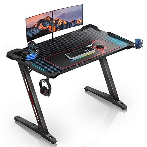 EUREKA ERGONOMIC Gaming Tisch Z1-S Gaming Schreibtisch Gaming Computertisch PC Schreibtisch Gamer mit Blau LED...