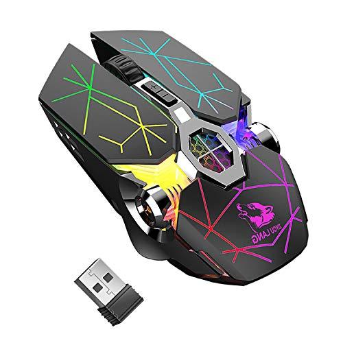 Kabellose Gaming-Maus, RGB, mehrfarbig, wiederaufladbar, leise, Computerzubehör, für zu Hause, Büro,...