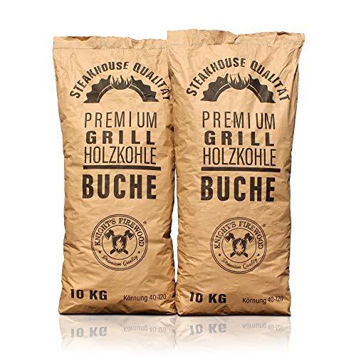 Knight's Firewood 20 kg (2x10kg) Grillkohle Premium Holzkohle Buche Grillholzkohle Buchenholzkohle...