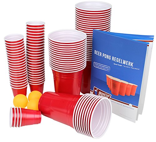 Ultimate Beer Pong Party Paket | Rote Partybecher mit Bällen & Shot Cups | Beer Pong Party Cups | Extra...