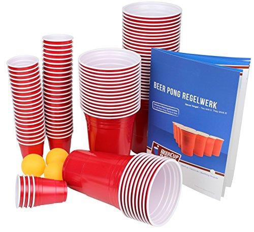 Ultimate Beer Pong Party Paket | 50 Rote Partybecher | inkl. 50 Red Cup Shots, 3 Bälle & Regelwerk | Beer...