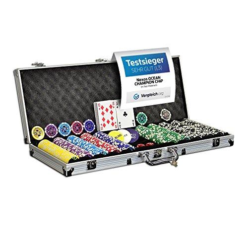 Nexos Pokerkoffer Pokerset 500 300 Laser Pokerchips Poker Komplett Set 12 g Chips Deluxe Größe wählbar (500...