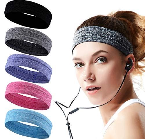Sport Stirnband für Damen und Herren, 5 Stück Schweißband Stirnband Männer und Frauen,...