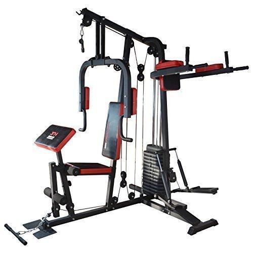 TrainHard® Kraftstation Multistation Fitnessstation Home Gym 65 kg Gewichten inkl. Dipstation Beinhebe,...
