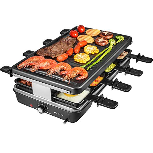 AONI Raclette grill Rauchfreier grill Elektrischer BBQ-Grill mit Antihaft-Grillfläche, 1200W...
