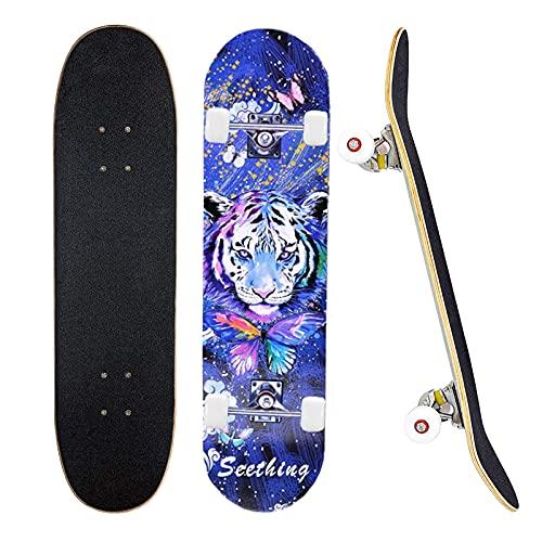 78,7 x 20,3 cm komplettes Skateboard für 7-lagiges Ahorn-Deck Doppel-Kick-Deck, Standardboards für Jungen,...